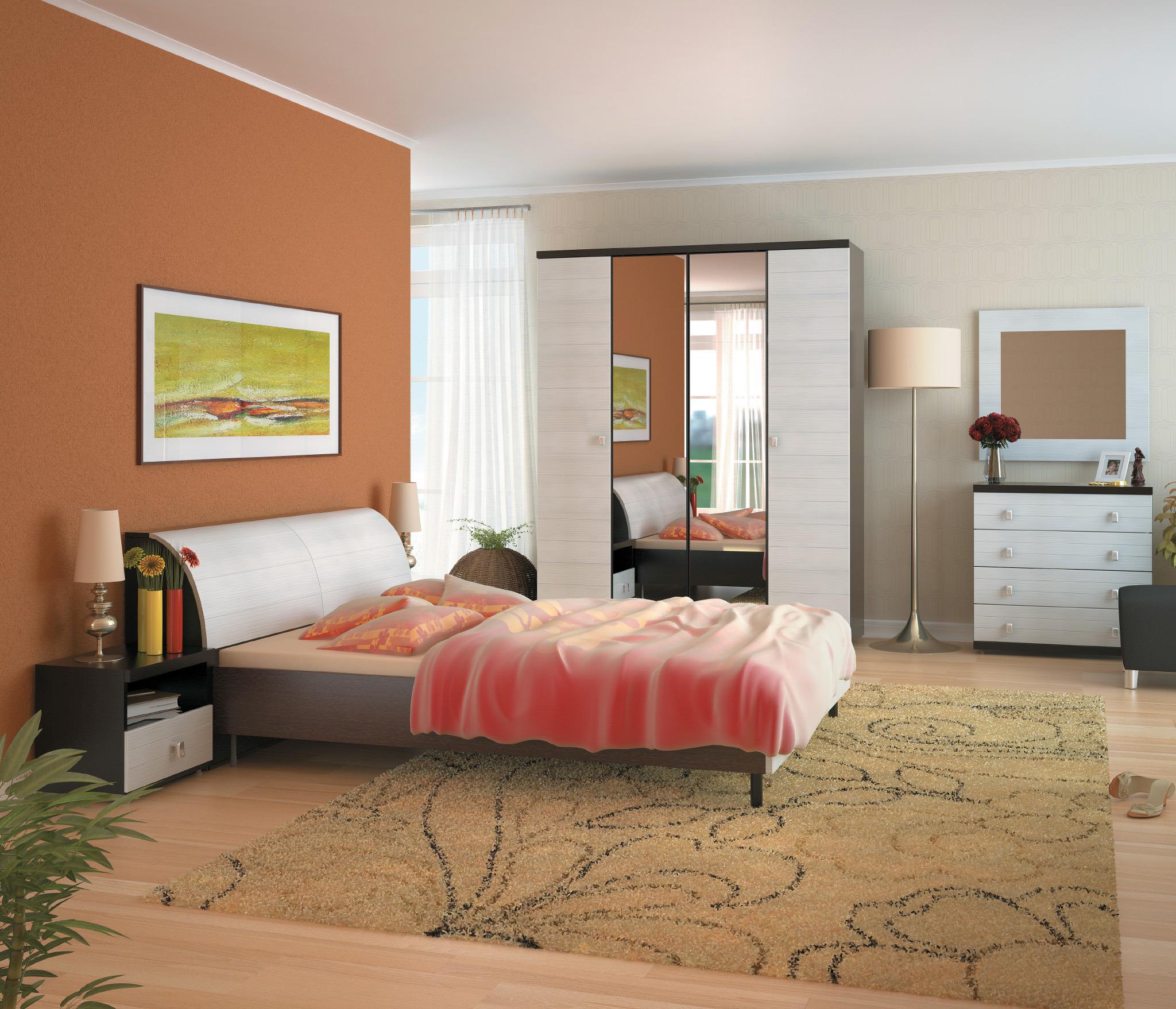 Гретта Онденс Спальня Набор 1Готовые комплекты<br>Гретта Онденс  включает в себя все незаменимые атрибуты спальни: функциональный шкаф с зеркальным фасадом, удобную кровать, вместительный комод и компактную прикроватную тумбу.<br><br>Длина мм: 0<br>Высота мм: 0<br>Глубина мм: 0<br>Материал: ЛДСП<br>Основание для матраса: Нет