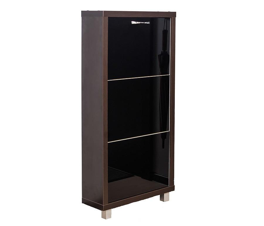 Шкаф обувной Люкс стекло черное 3СОбувницы<br><br><br>Длина мм: 545<br>Высота мм: 1070<br>Глубина мм: 190<br>Цвет: Венге