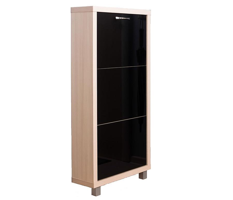 Шкаф обувной Люкс стекло черное 3С