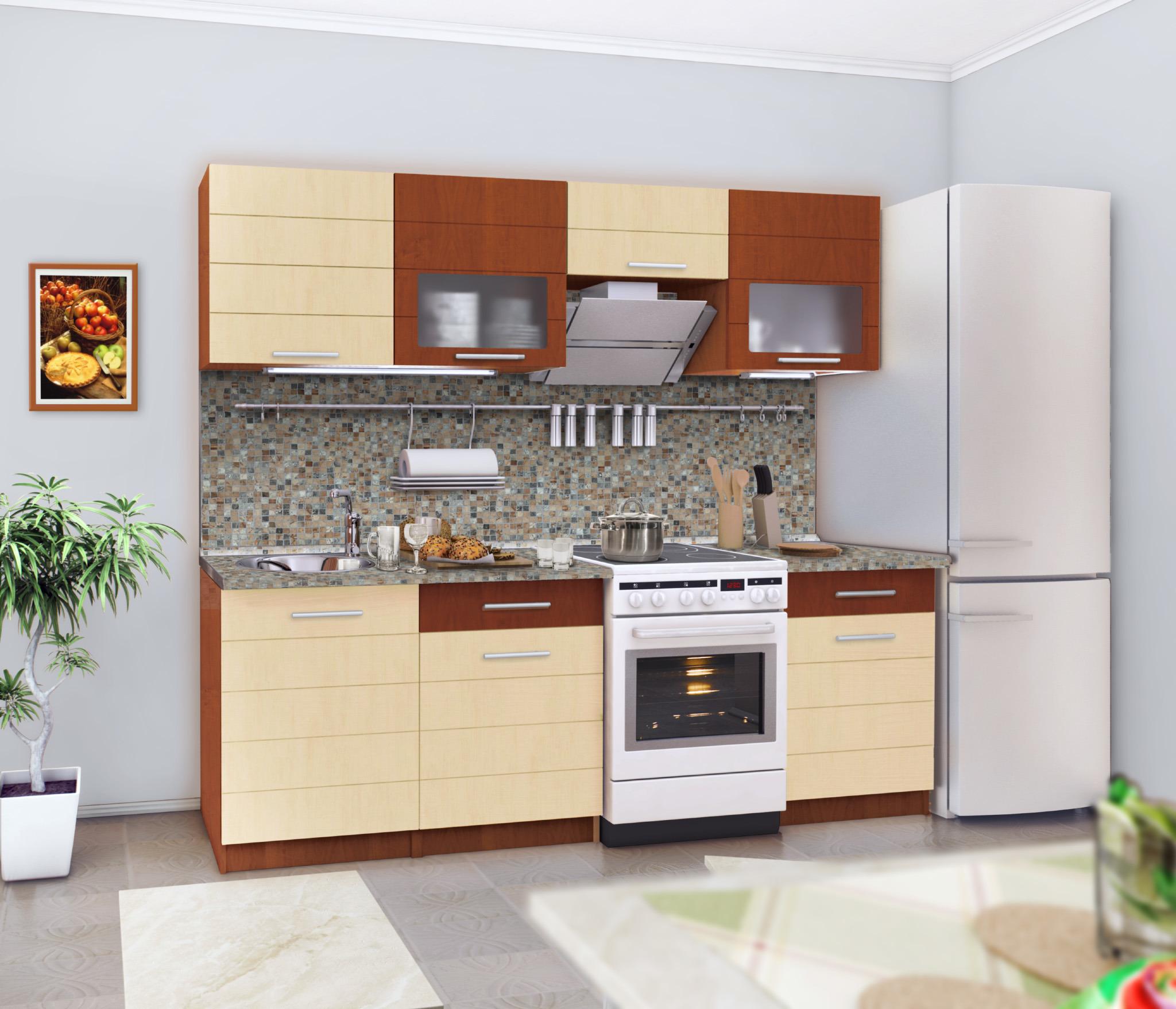 Милена Кухонный гарнитурКухонные гарнитуры<br>Удобный и практичный набор шкафов для кухни.<br><br>Длина мм: 2400<br>Высота мм: 845<br>Глубина мм: 450
