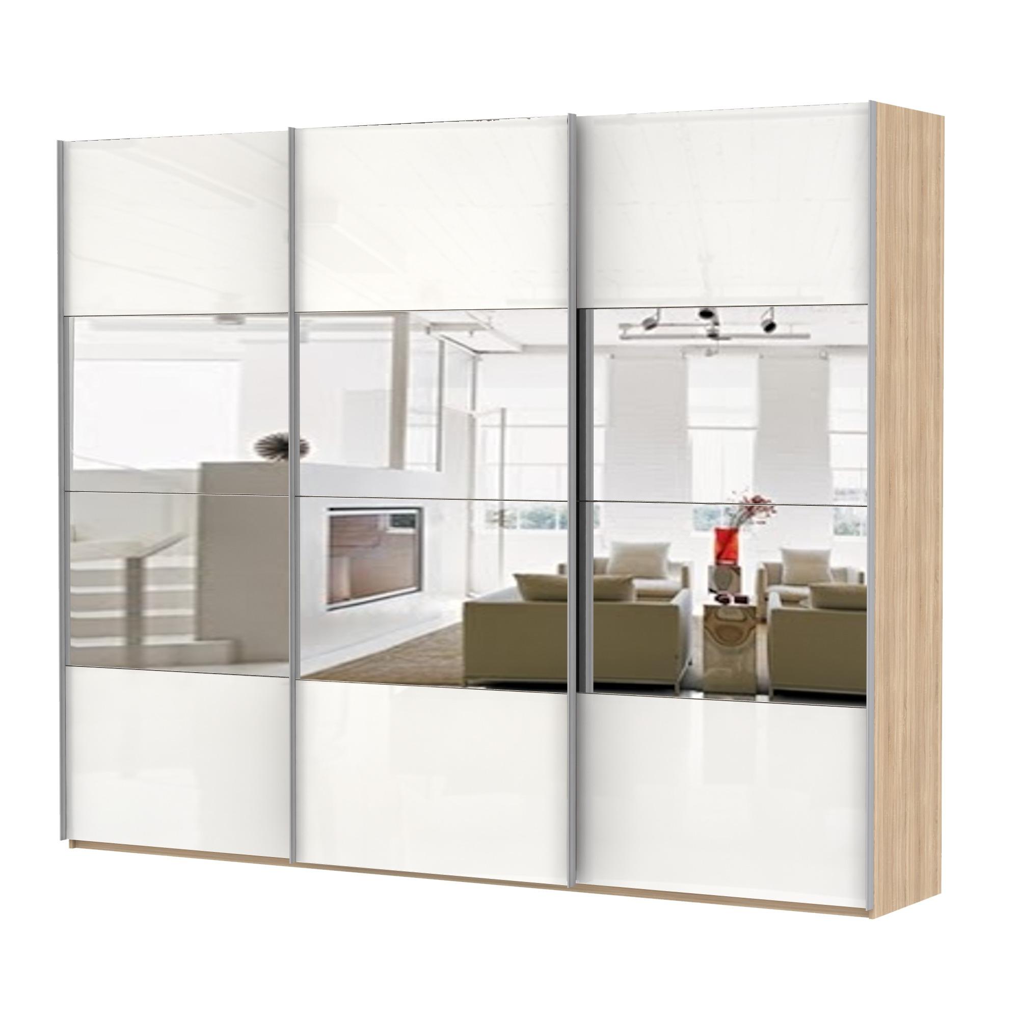 Шкаф Эста трио Комби стекло белое+зеркало 2200 x 3000 x 580Шкафы-купе<br><br><br>Длина мм: 3000<br>Высота мм: 2200<br>Глубина мм: 580