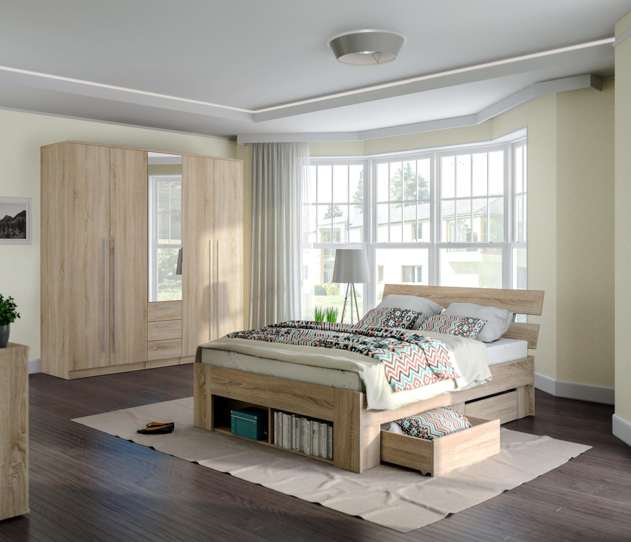 Берлин(Николь) Комплект 4 для спальни (кровать+2ящ+шк Николь 5дв)Спальные гарнитуры<br><br><br>Длина мм: 0<br>Высота мм: 0<br>Глубина мм: 0