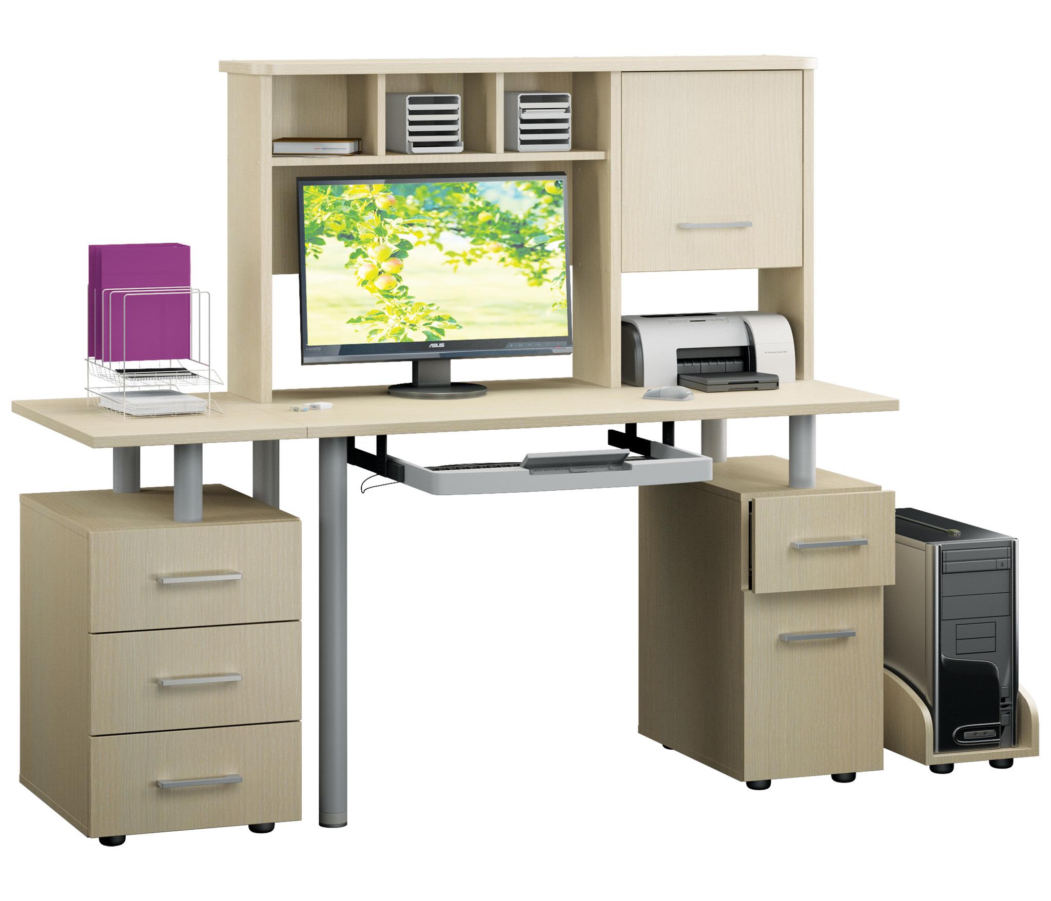 Техно компьютерный стол Дуб Кремона с выдвижной клавиатуройКомпьютерные<br>Компьютерный стол данной конфигурации окажется очень удобным и вместительным,благодаря нишам и ящикам, расположенным как в нижней части, так и наверху конструкции.<br><br>Длина мм: 1600<br>Высота мм: 1400<br>Глубина мм: 600