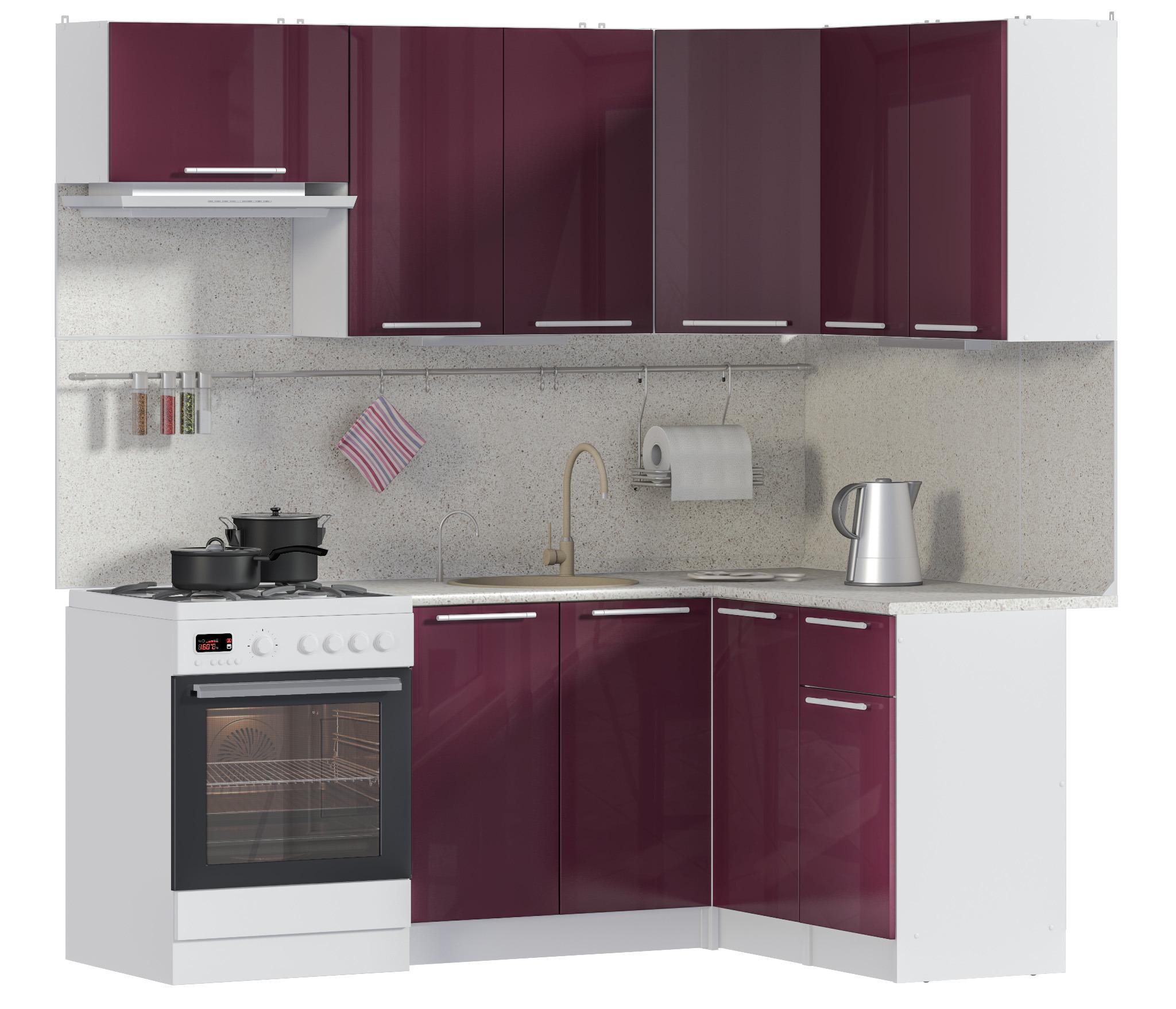 Ангелина кухня угловая 200*140 см БаклажанКухонные гарнитуры<br><br><br>Длина мм: 0<br>Высота мм: 0<br>Глубина мм: 0
