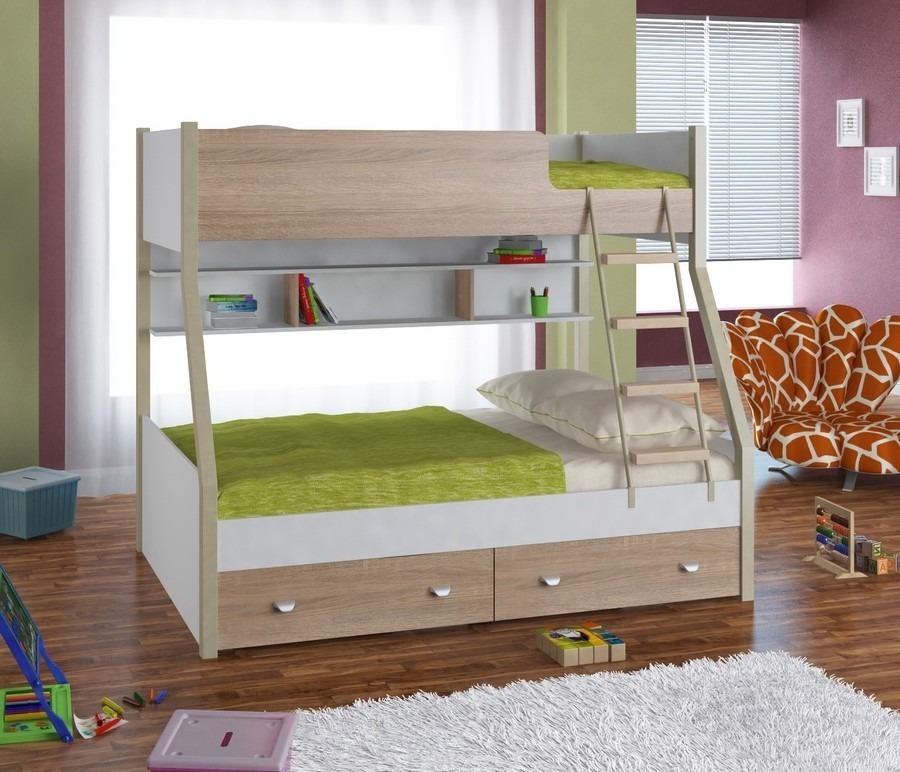Двухъярусная кровать Golden Kids 3Кровати двухъярусные<br><br><br>Длина мм: 1260<br>Высота мм: 1640<br>Глубина мм: 1980