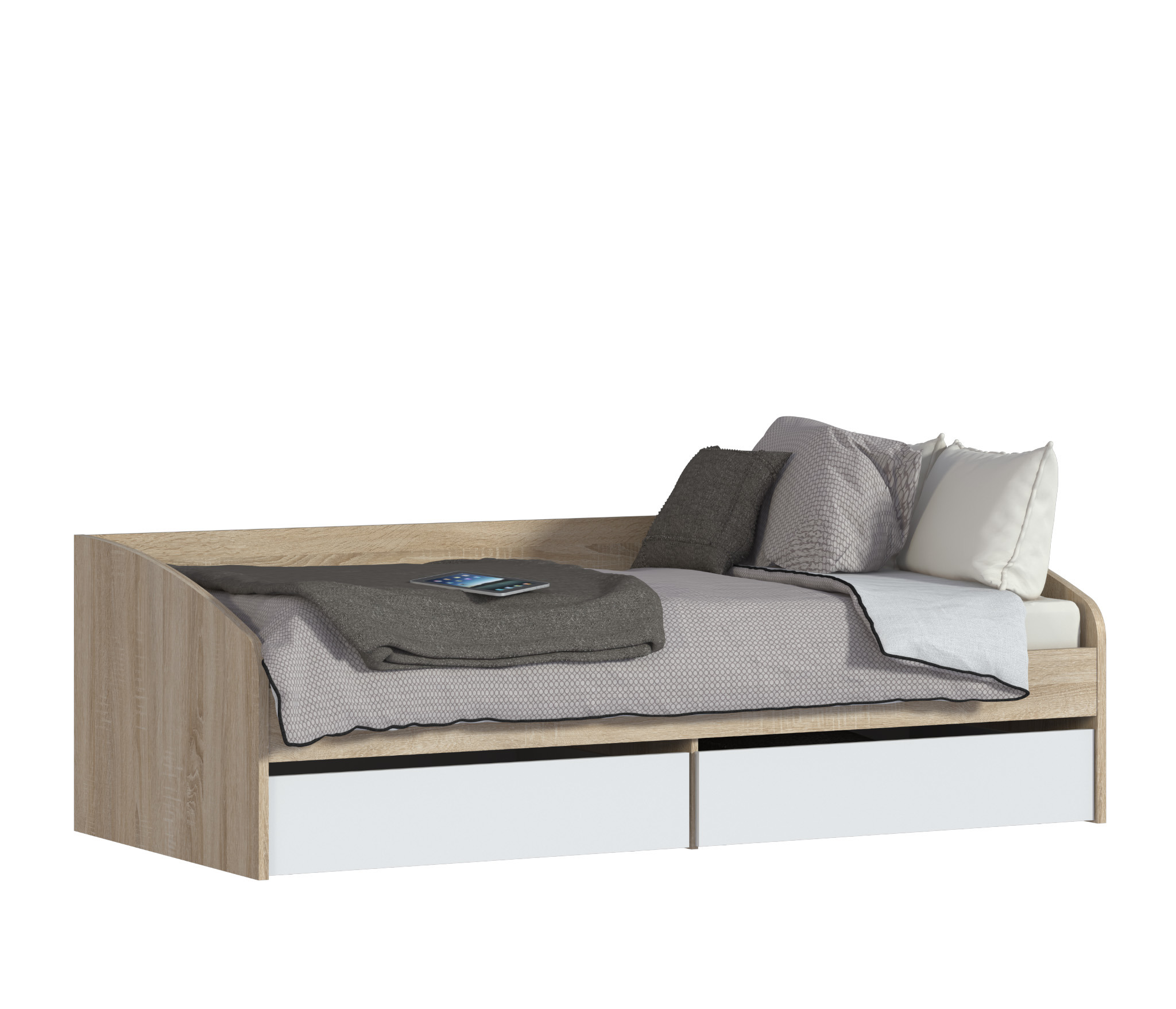 Мамбо СБ-2372 КроватьДетские кровати от 3-х лет<br>Матрас приобретается отдельно.&#13;Кровать из детского гарнитура  Мамбо    симпатичная и комфортабельная модель, воспользоваться которой могут даже взрослые челны семьи. Занимая не так уж и много места, она выделяется своей функциональной значимостью. Три в одном. Днем это вполне приличный диванчик, ночью полноценное спальное место шириной 95 см, к тому же, это и система хранения постельных принадлежностей, так как модель оборудована двумя объемными выдвигающимися ящиками. Кровать собрана из мебельных щитов повышенной прочности с износостойким поверхностным покрытием приятного пастельного оттенка «Дуб Сонома». Ящики и фасады к ним изготовлены из ДСП песочного цвета. Неброское сочетание цветов вносит в интерьер гармонию и умиротворение, что бывает нелишним, когда требуется успокоить разыгравшегося ребенка.&#13;Основание входит в комплект. Матрас приобретается отдельно, размер рекомендуемого матраса 900х2000.<br><br>Длина мм: 2054<br>Высота мм: 644<br>Глубина мм: 950<br>Материал: ЛДСП<br>Тип: Универсальные<br>Ящик: Есть<br>Ширина спального места: 900<br>Длина спального места: 2000<br>Бортик: нет<br>Основание для матраса: Есть