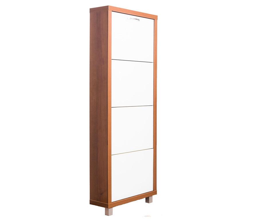 Шкаф обувной люкс стекло белое 4С