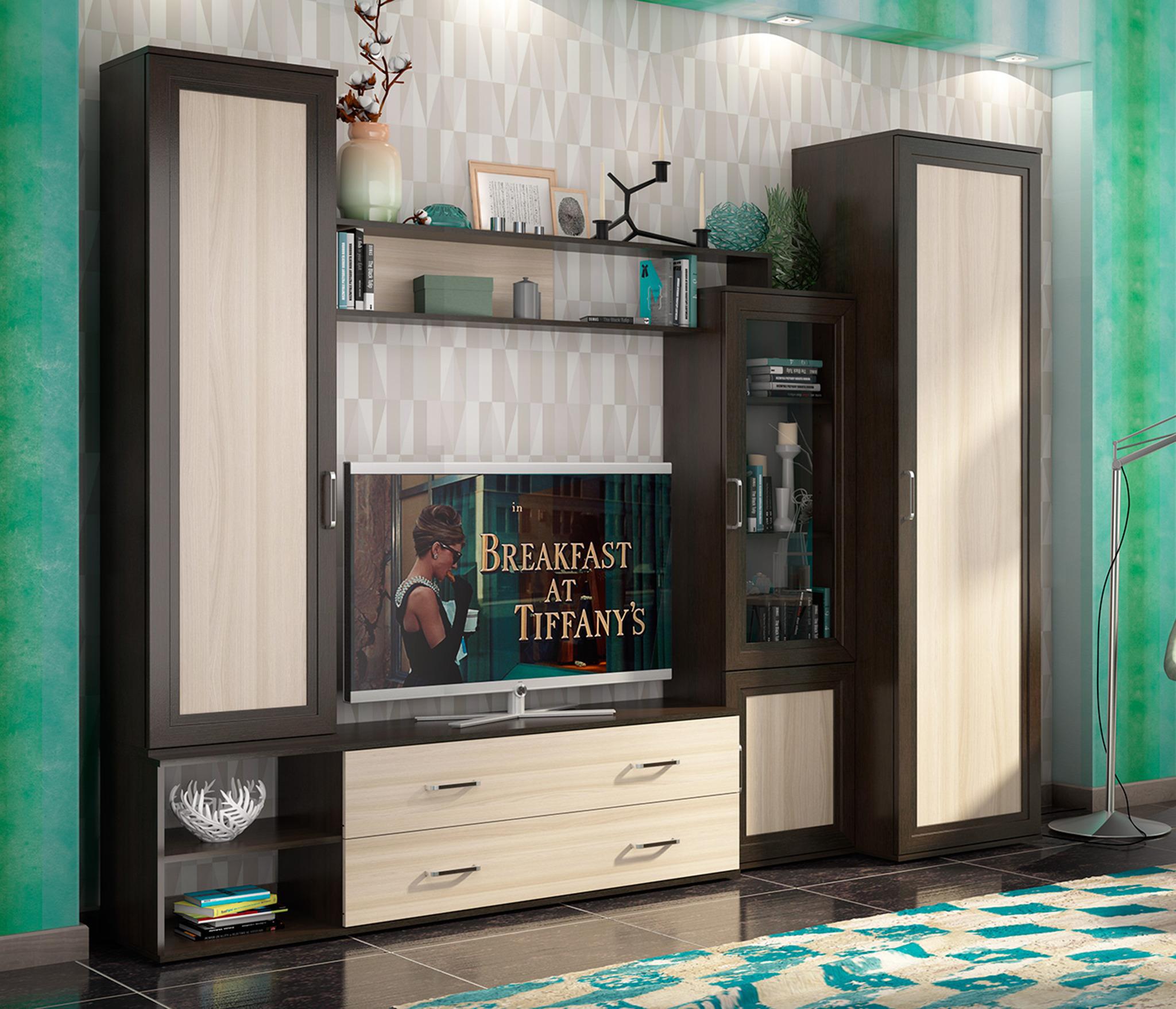 Гостиная АбельСтенки для гостиной<br>Размер места под ТВ: 117.2х107.2 см.&#13;Тип направляющих: шариковые.&#13;]]&gt;<br><br>Длина мм: 2120<br>Высота мм: 2150<br>Глубина мм: 405