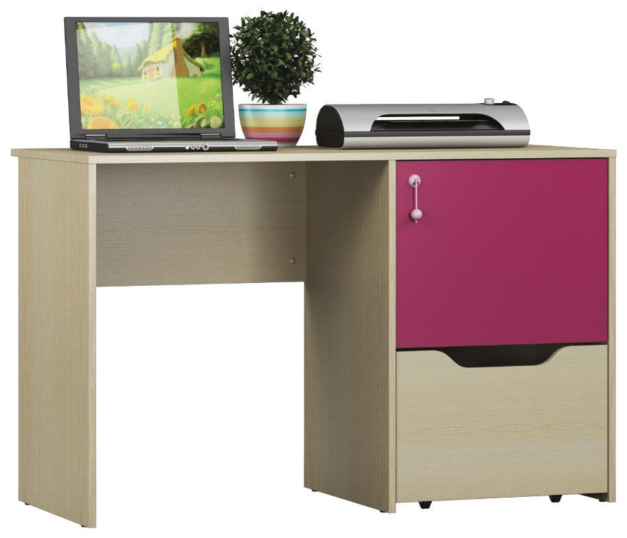 Маугли СБ-2071 СтолДетские парты, столы и стулья<br>Маугли СБ-2071   стол, который понравится вашему ребенку. Удобный, функциональный и, конечно, красивый. Светлая пастель Дуба Молочного с сильно выраженной древесной структурой прекрасно гармонирует с нетривиальной Фуксией. Это взрослым в обстановке чаще всего нравятся приглушенные краски, для ребенка яркий цвет – это радость и настроение.&#13;Вместительная тумба с нижним выдвижным ящиком и верхней секцией с дверкой спрячет от посторонних и сохранит все тетрадки, альбомы, карандаши и краски, которыми так дорожит юное дарование. Просторной столешницы с избытком хватит, как для размещения планшета или ноутбука, так и для комфортного выполнения уроков.<br><br>Длина мм: 1200<br>Высота мм: 763<br>Глубина мм: 554