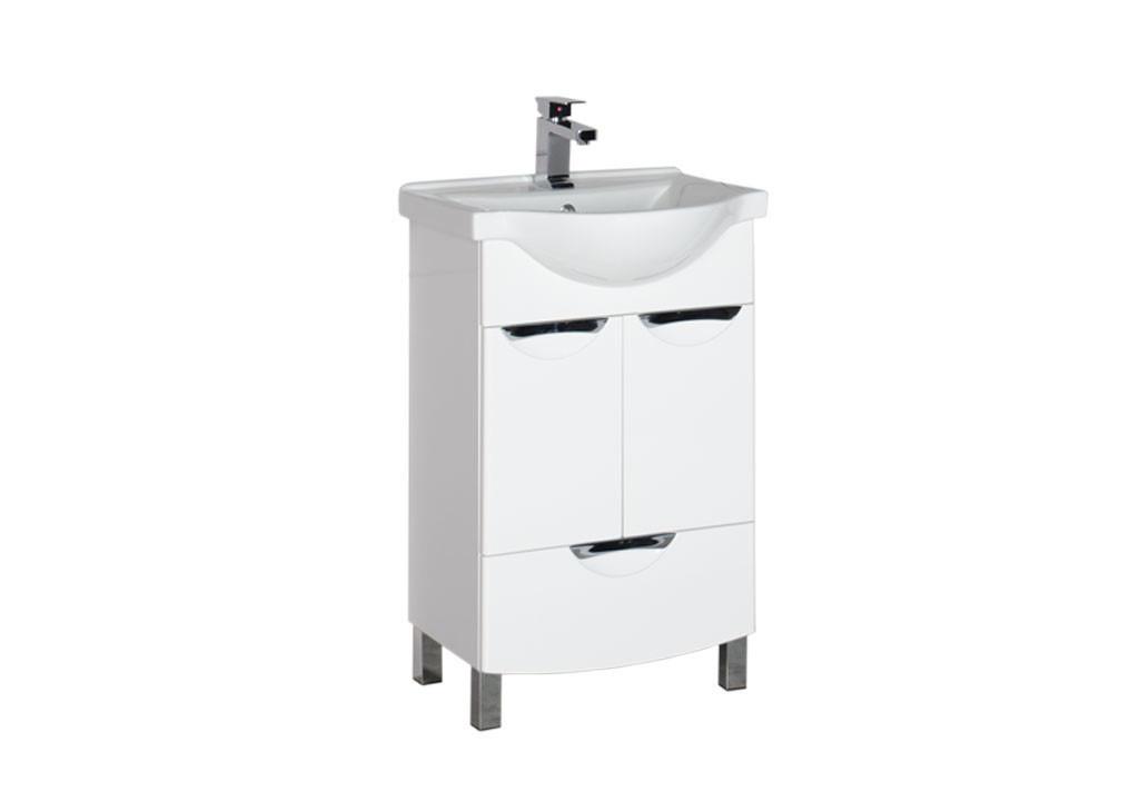 Тумба Aquanet  Асти 55 белый (2 дверцы 1 ящик)Тумбы с раковиной для ванны<br><br><br>Длина мм: 0<br>Высота мм: 0<br>Глубина мм: 0<br>Цвет: Белый