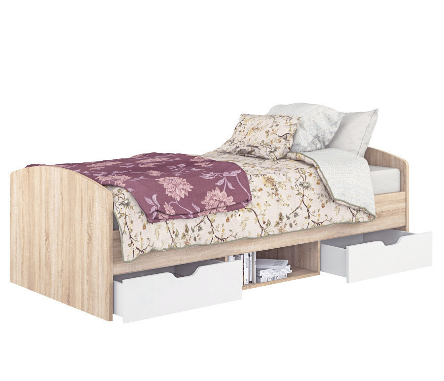 Дория СБ-2523 Кровать 900 Дуб СономаКровати<br><br><br>Длина мм: 960<br>Высота мм: 649<br>Глубина мм: 2056