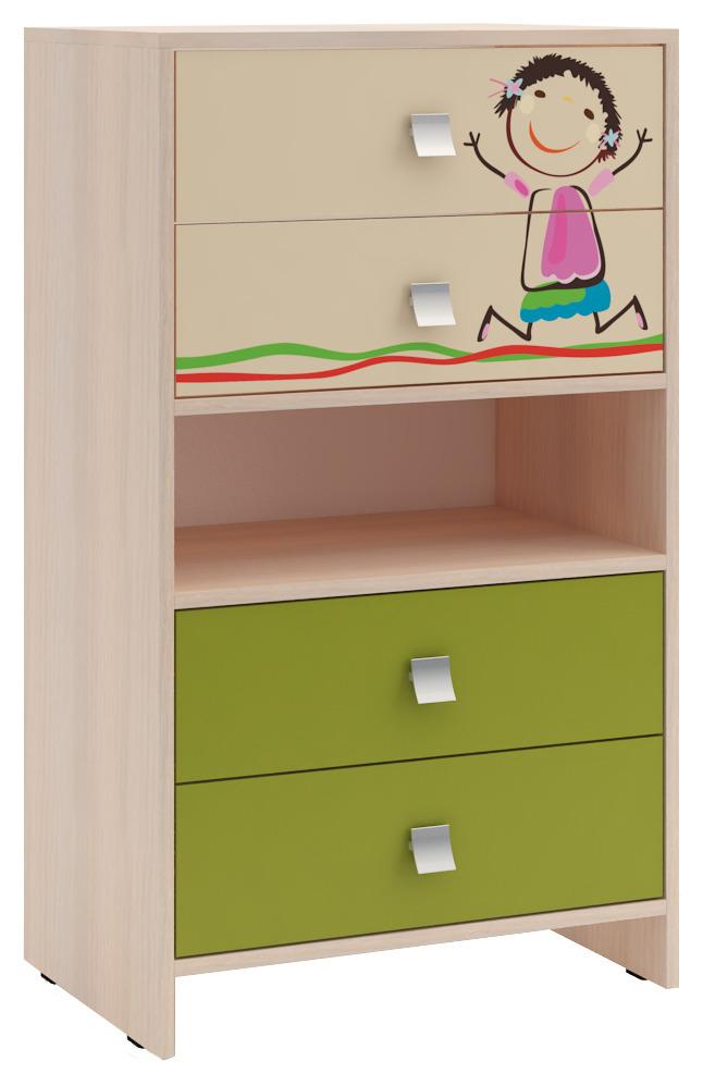 Комод для детской Дружба 2Детские комоды<br><br><br>Длина мм: 600<br>Высота мм: 1030<br>Глубина мм: 400