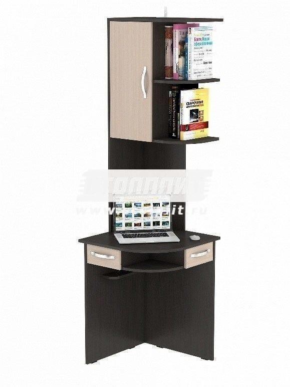 Стол компьютерный КС 2044Компьютерные столы<br><br><br>Длина мм: 600<br>Высота мм: 2060<br>Глубина мм: 600<br>Цвет: Венге/ Молочный дуб