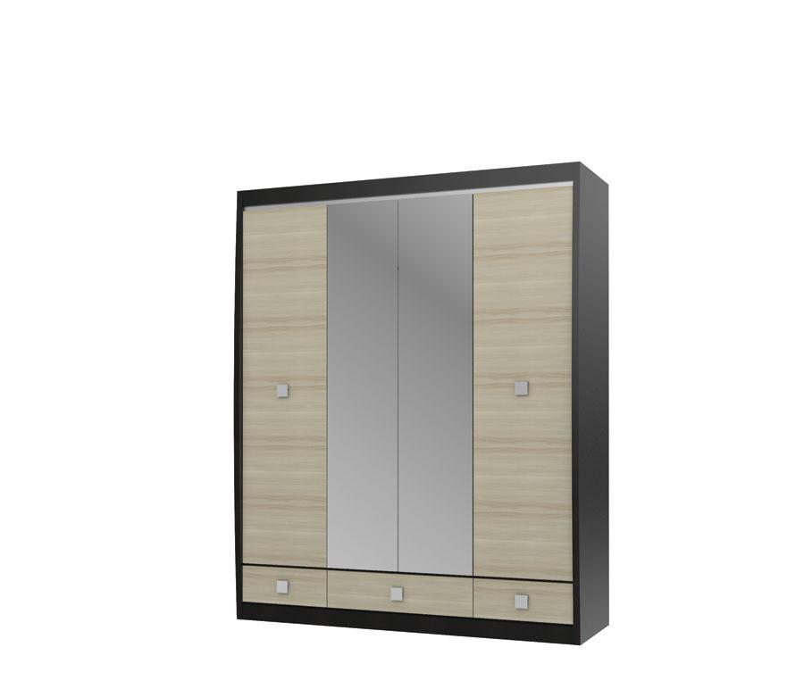 Ксено СТЛ.078.19 Шкаф с зеркалом 4-х дверный с 3-мя ящикамиШкафы<br><br><br>Длина мм: 1800<br>Высота мм: 2195<br>Глубина мм: 593