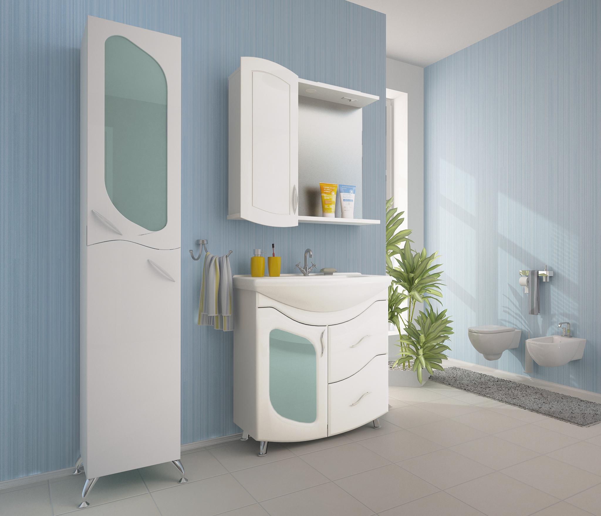 Набор мебели для ванной Mixline Ассоль-75 белый (зеркальный шкаф правый, тумба, раковина) раковина квадро для тумбы торонто 75