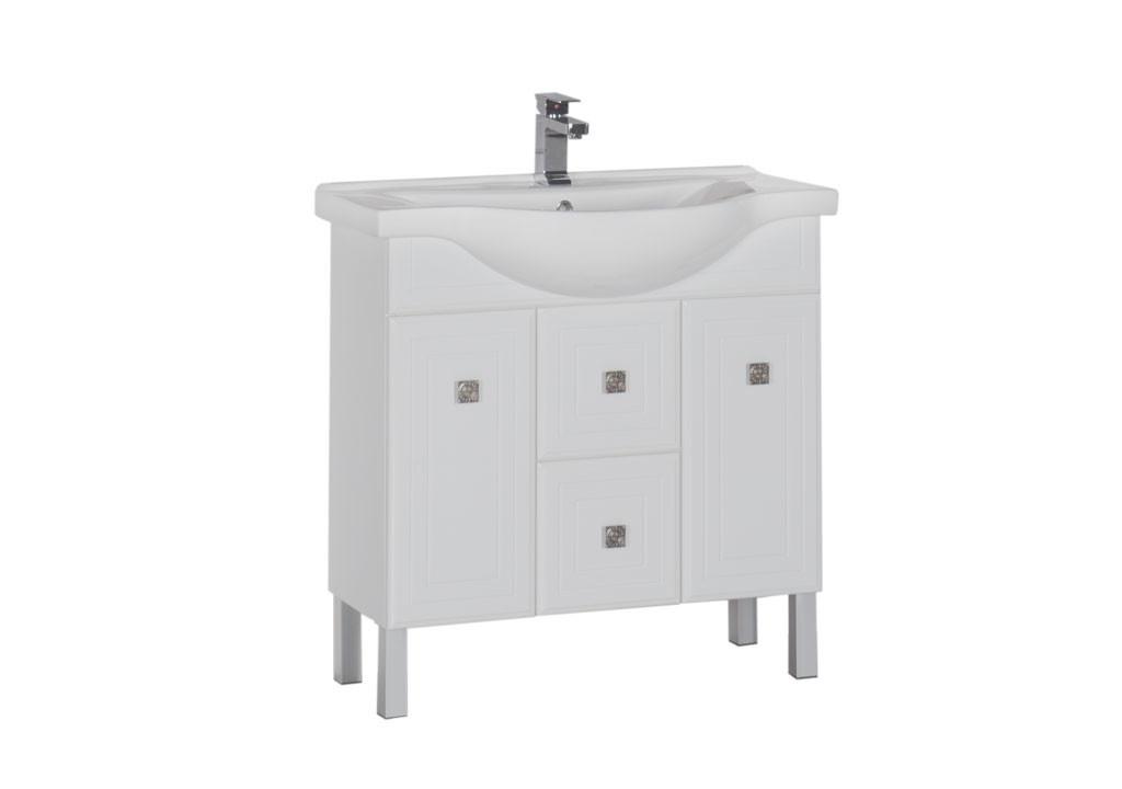 Тумба Aquanet Стайл 85 белый (2 дверцы 2 ящика)Тумбы с раковиной для ванны<br><br><br>Длина мм: 0<br>Высота мм: 0<br>Глубина мм: 0<br>Цвет: Белый Глянец