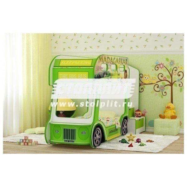 Кровать Автобус ПрестижДетские кровати<br><br><br>Длина мм: 940<br>Высота мм: 1460<br>Глубина мм: 2430<br>Цвет: Зеленый