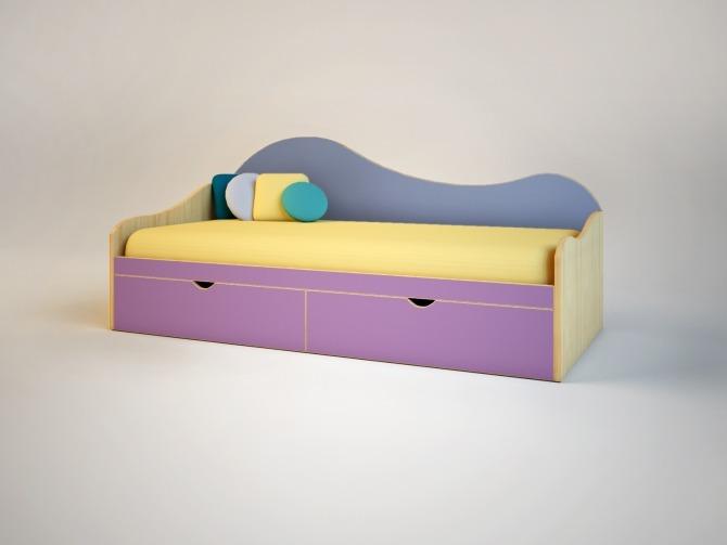 Тахта с двумя ящиками ЭльпаДетские кровати<br><br><br>Длина мм: 1990<br>Высота мм: 880<br>Глубина мм: 932