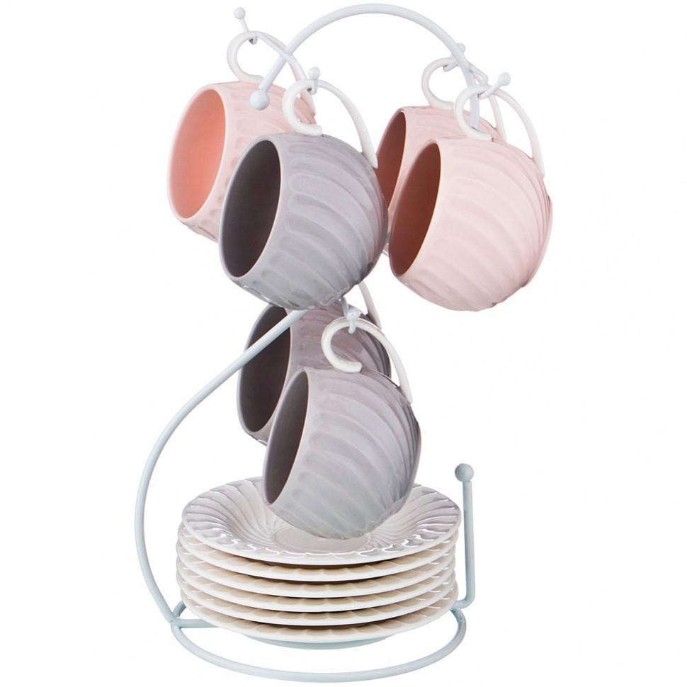 Фото - Набор чайных пар Lefard на 6 персон 12 предметов 200 мл на металлической подставке jewel набор кружек тренза jewel 335 мл 6 шт на металлической подставке