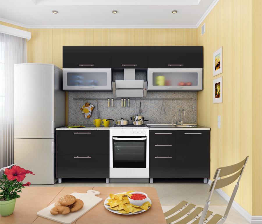 Анна Кухня Черный МеталликКухонные гарнитуры<br>Современная и оригинальная кухня Анна черный металлик органично впишется в помещение, выдержанное в стилях хай-тек, модерн и минимализм. Представленная модель выгодно отличается продуманной эргономичной конструкцией и не занимает много места. В комплект кухни Анна Столплит входят три горизонтальные полки, два шкафа, два накладных ящика, четыре фасада и две витрины. Это позволяет расположить на кухне все необходимые вещи, спрятать от посторонних глаз габаритную посуду и прочий столовый инвентарь. Все предметы мебели данного комплекта выполнены из надежных высококачественных материалов, что гарантирует их долгий срок службы. Стильная цветовая палитра выгодно подчеркнет вкус владельца и органично дополнит общее концептуальное оформление дома или квартиры.<br><br>Длина мм: 2300<br>Высота мм: 2140<br>Глубина мм: 600