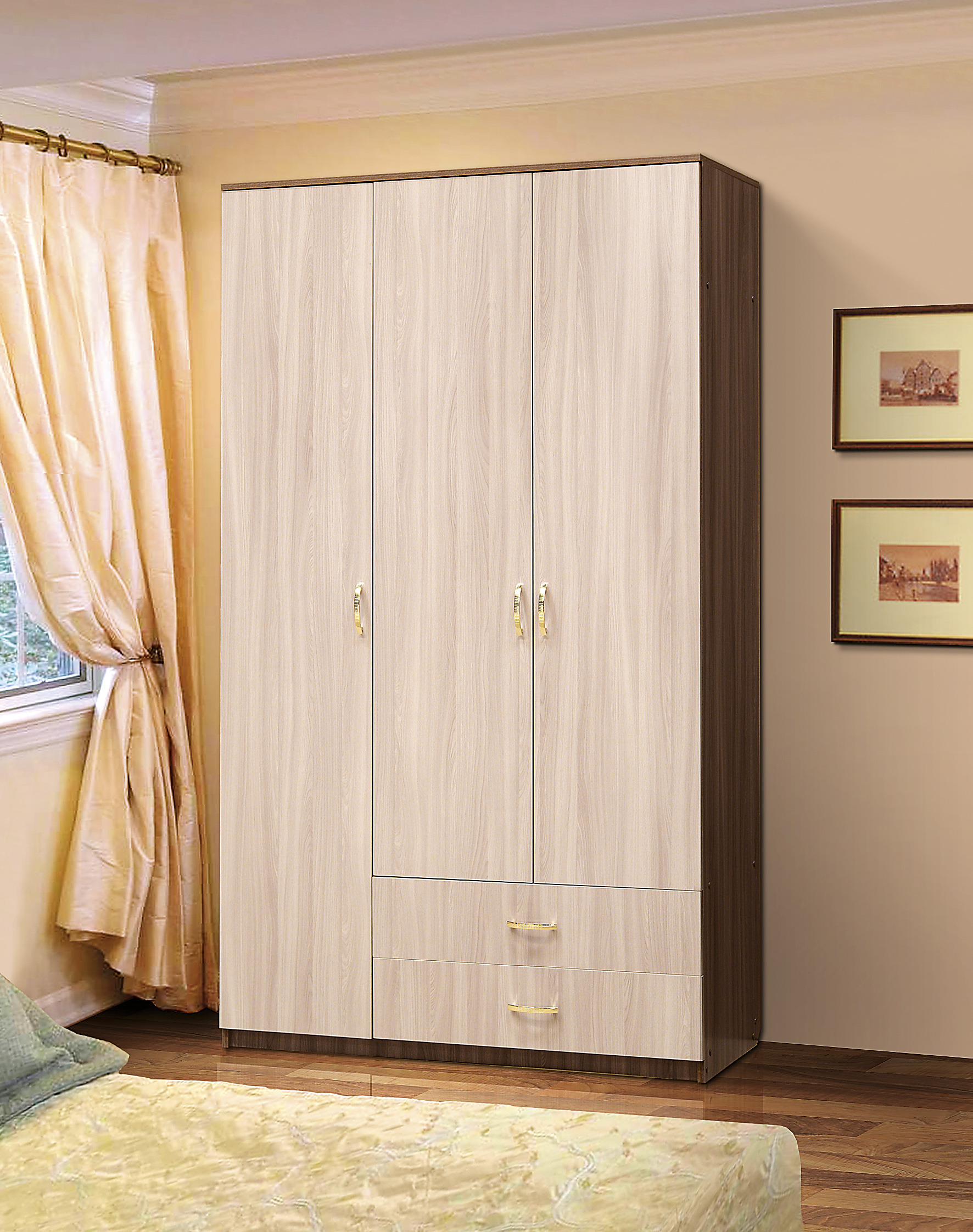 Шкаф 3-х с 2-мя ящиками  ЛДСПШкафы<br><br><br>Длина мм: 1200<br>Высота мм: 2116<br>Глубина мм: 520