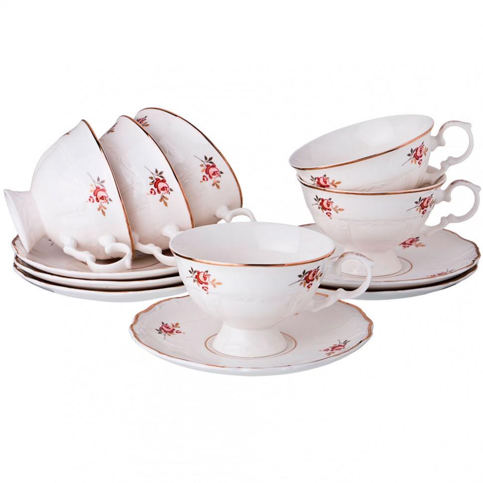 Набор чайных пар из фарфора Lefard на 6 персон 230 мл 12 предметов недорого