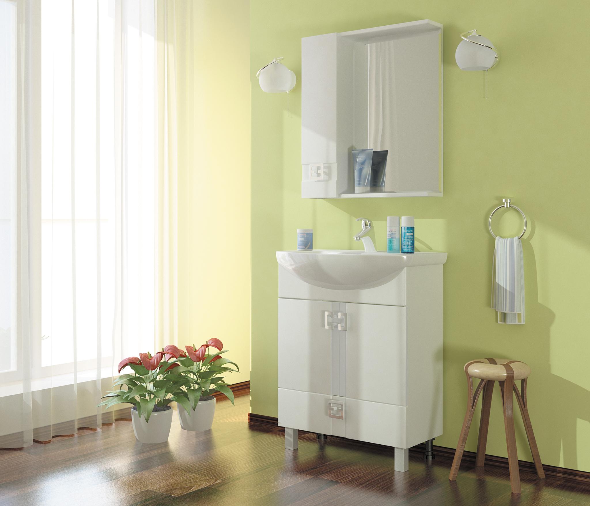 Набор мебели для ванной Mixline Квадро-55 белый (зеркальный шкаф, тумба, раковина) раковина квадро для тумбы торонто 75