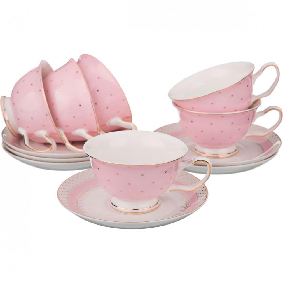Набор чайных пар из фарфора Lefard на 6 персон 200 мл 12 предметов недорого