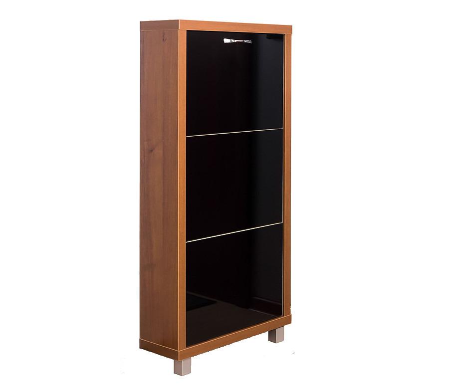 Шкаф обувной Люкс стекло черное 3СОбувницы<br><br><br>Длина мм: 545<br>Высота мм: 1070<br>Глубина мм: 190<br>Цвет: Орех
