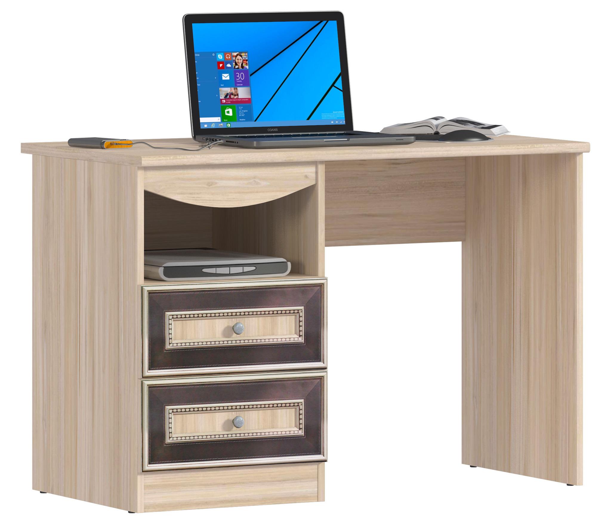 Персей СБ-1987 СтолДетские парты, столы и стулья<br>Удобный письменный стол   обязательный атрибут в любой современной квартире. А Персей СБ-1987 Стол – это не просто предмет мебели, а удивительно привлекательная и функциональная вещь. Качественная с высокопрочным покрытием столешница, одна открытая и две выдвигающиеся полки, органичная конструкция, оставляющая простор ногам, которые можно расположить в наиболее удобной позе – все это делает стол из серии  Персей  желанным гостем и в кабинете, и в молодежной комнате. Особо хочется подчеркнуть цветовое и фактурное решение. Светлая пастель «Слива Табеа» с ярко выраженной древесной структурой привносит в обстановку деловые и, в то же время, изысканные нотки. За таким столом и работается плодотворней.<br><br>Длина мм: 1100<br>Высота мм: 750<br>Глубина мм: 576<br>Форма: Прямой