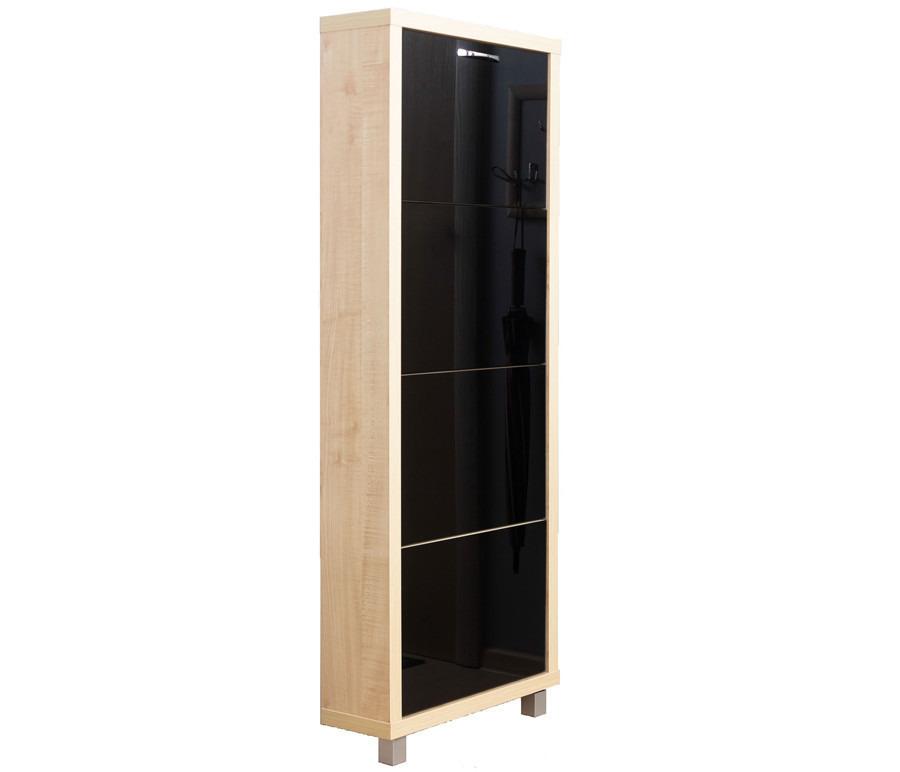 Шкаф обувной Люкс стекло черное 4С