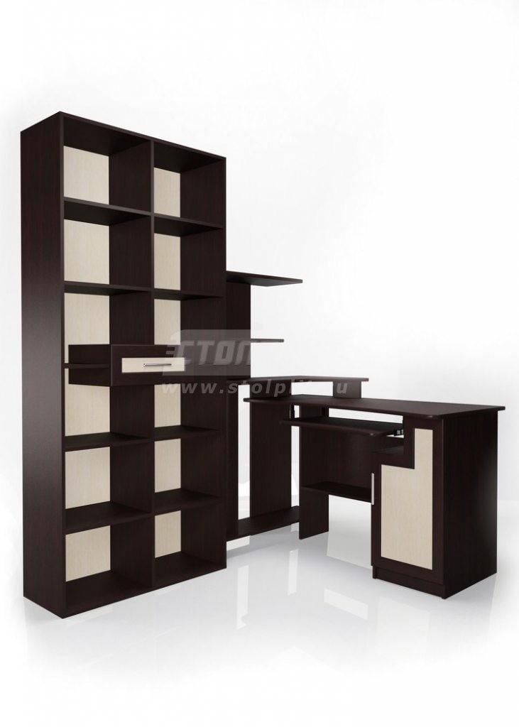 Стол для компьютера МБ – 2Компьютерные столы<br><br><br>Длина мм: 1843<br>Высота мм: 2052<br>Глубина мм: 12480<br>Цвет: Венге/ Молочный дуб