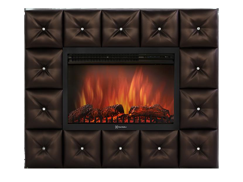 Камин Electrolux EFP/P-3020LS с порталом Crystal 30 тёмная экокожа