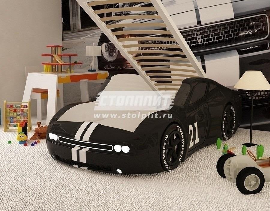 Кровать машина Челенджер с пмДетские кровати<br><br><br>Длина мм: 650<br>Высота мм: 780<br>Глубина мм: 1760<br>Цвет: Черный