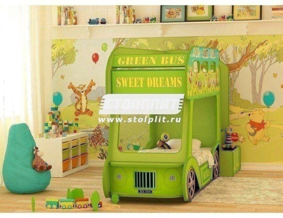Кровать Автобус ПрестижДетские кровати<br><br><br>Длина мм: 940<br>Высота мм: 1460<br>Глубина мм: 2430<br>Цвет: Белый/Салатовый