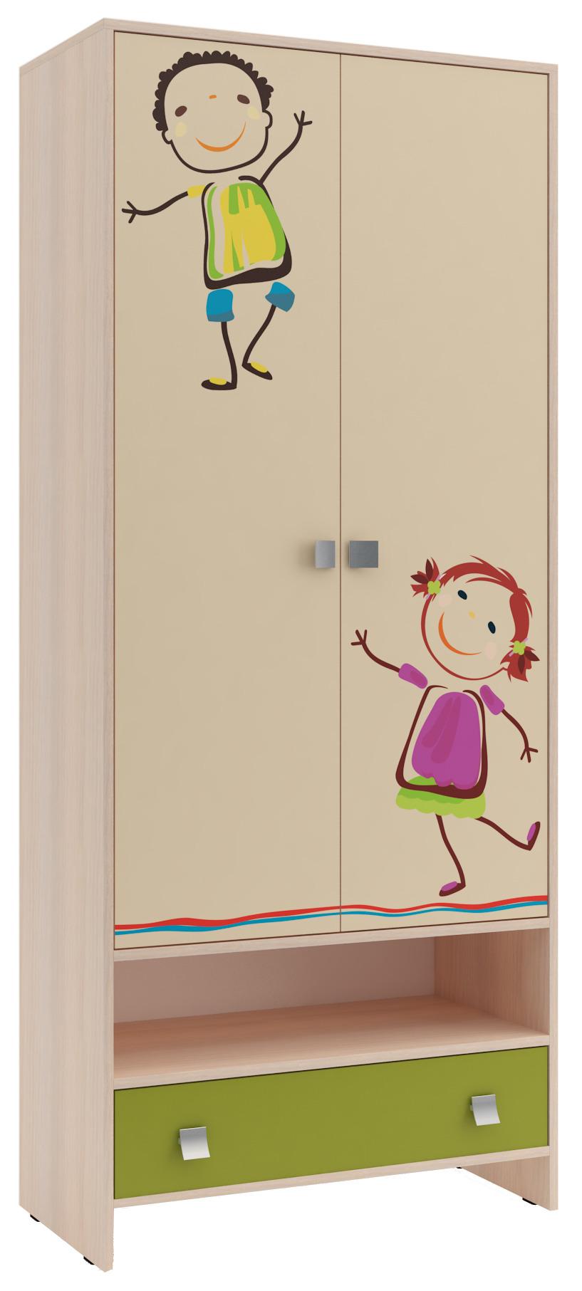 Шкаф для детской ДружбаМебель для детской<br><br><br>Длина мм: 800<br>Высота мм: 1900<br>Глубина мм: 400