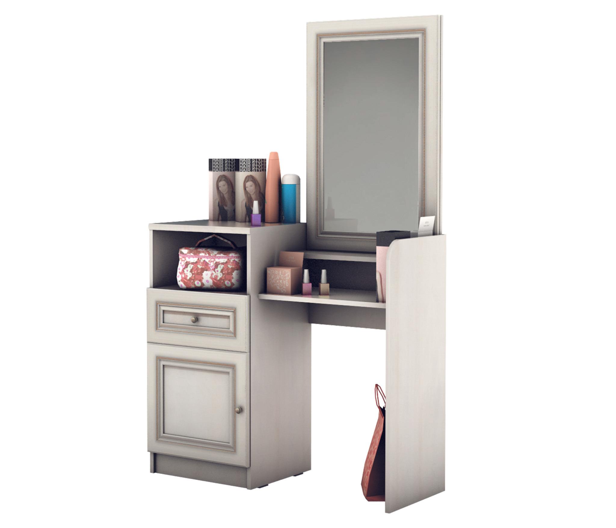 Венеция СБ-1298 Стол туалетныйГостиная<br>Красивый и удобный туалетный столик.<br><br>Длина мм: 985<br>Высота мм: 1607<br>Глубина мм: 373<br>Особенности: С зеркалом