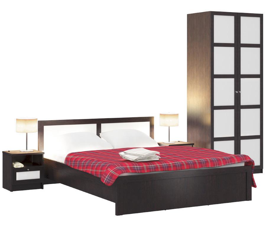 Камелия Венге Палеа кровать + тумбы + шкаф Палермо (штанга)Спальные гарнитуры<br><br><br>Длина мм: 0<br>Высота мм: 0<br>Глубина мм: 0