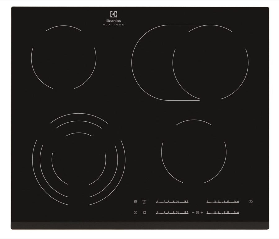 Варочная поверхность Electrolux EHF96547FK элетрическая черная стеклокерамикаМебель для кухни<br>Электрическая стеклокерамическая варочная поверхность, цвет: Черный, индивидуальный слайдер для каждой зоны нагрева, 3-хступенчатая индикация остаточного тепла, акустический сигнал (вкл/выкл), блокировка панели управления, Count-up timer (счетчик времени), Таймер отключения с функцией Эко, Будильник, Таймер отключения, Функция  Stop Go , скошенный край.&#13;Независимая варочная поверхность;&#13;Варочная поверхность со скошенной рамкой;&#13;DirectAccess: технология сенсорного управления  слайдер ;&#13;Положение панели управления: Спереди справа;&#13;Подсветка панели управления;&#13;Функция Защита детей;&#13;Функции безопасности: Автоматическое отключение;&#13;Цвет: Чёрный;&#13;Цвет керамической поверхности: Black;&#13;Цвет керамической поверхности: Нержавеющая сталь;&#13;Размеры (ВхШ): 590х520 мм.&#13;]]&gt;<br><br>Длина мм: 520<br>Высота мм: 590<br>Глубина мм: 0