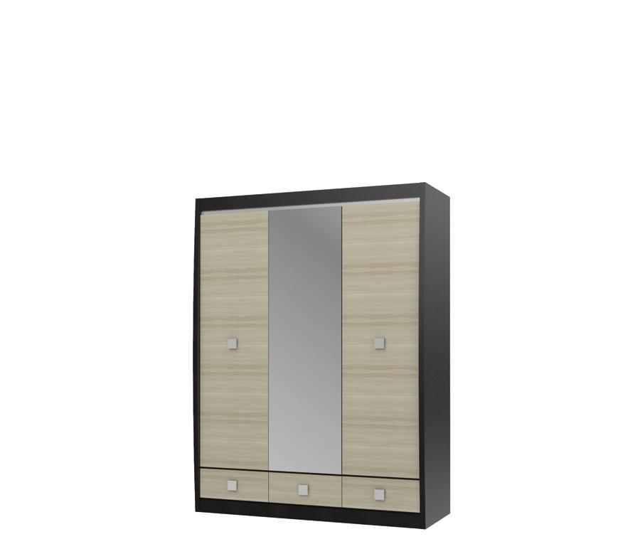 Ксено СТЛ.078.16 Шкаф с зеркалом 3-х дверный с 3-мя ящикамиШкафы<br><br><br>Длина мм: 1516<br>Высота мм: 1994<br>Глубина мм: 593