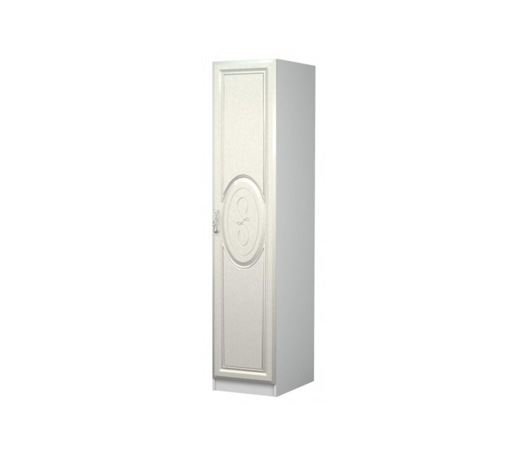 Пенал Жемчужинка белый/шелк патина распашные шкафы 2 дверные