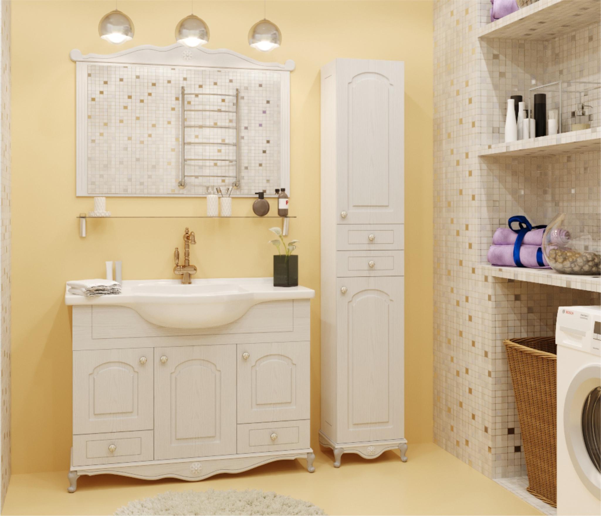 Набор мебели для ванной Mixline Прованс-80 белый ясень (зеркало, тумба на цоколе, раковина) недорого