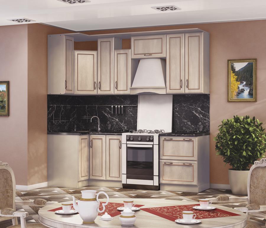 Кухонный гарнитур Регина (Дуб Ривер)Кухонные гарнитуры<br><br><br>Длина мм: 2400<br>Высота мм: 820<br>Глубина мм: 600