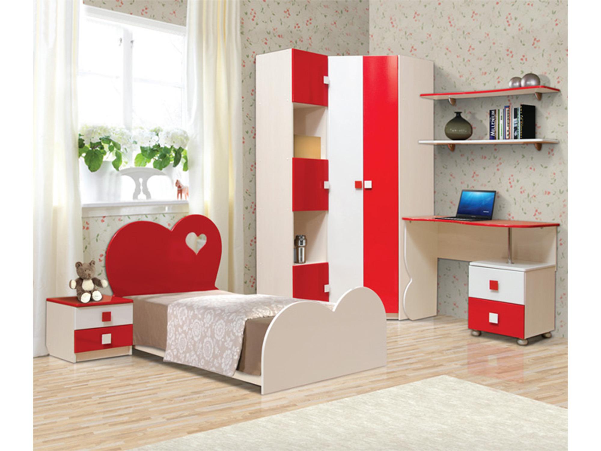 Спальный набор Кокетка-2Детские комнаты<br><br><br>Длина мм: 3565<br>Высота мм: 2200<br>Глубина мм: 1950