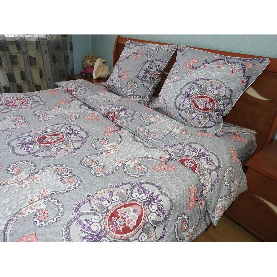 Комплект постельного белья евро Анжелика лен набивной