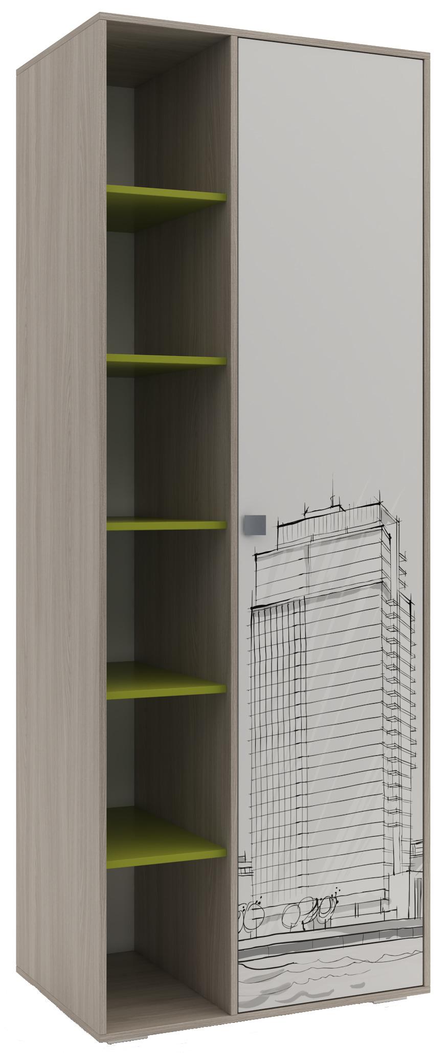 Шкаф для детской МегаполисДетская<br><br><br>Длина мм: 800<br>Высота мм: 2150<br>Глубина мм: 550