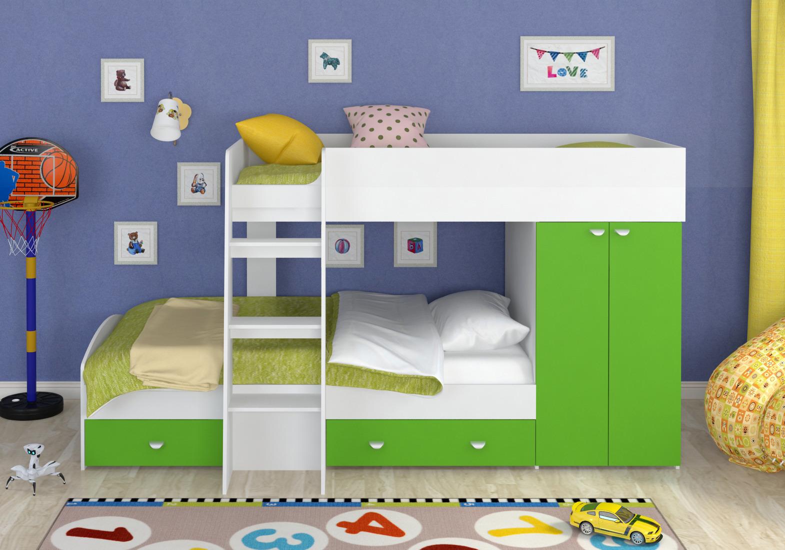 Набор мебели Golden Kids 2 кбКровати двухъярусные<br><br><br>Длина мм: 1265<br>Высота мм: 1555<br>Глубина мм: 2700