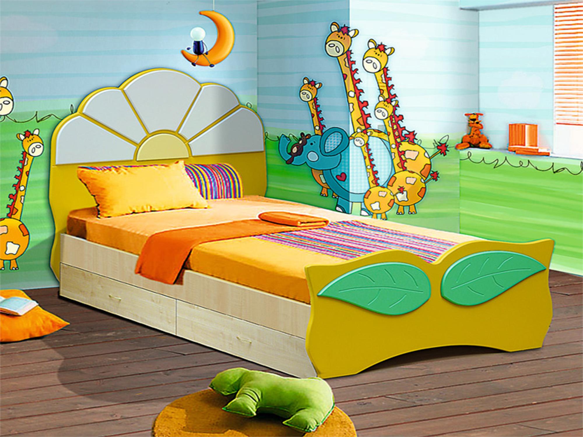 Кровать Ромашка с ящикамиДетские кровати<br><br><br>Длина мм: 910<br>Высота мм: 910<br>Глубина мм: 1750