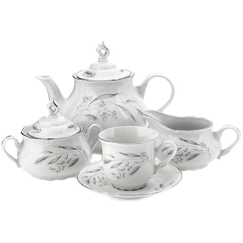 Сервиз чайный Thun Серебряные колосья Констанция на 6 персон 17 предметов rosenthal selection sanssouci elfenbein молочник для 6 персон 0 19 л
