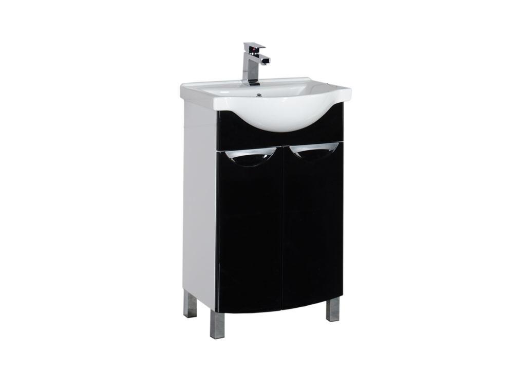 Тумба Aquanet  Асти 55 черный (2 дверцы)Тумбы с раковиной для ванны<br><br><br>Длина мм: 0<br>Высота мм: 0<br>Глубина мм: 0<br>Цвет: Чёрный глянец